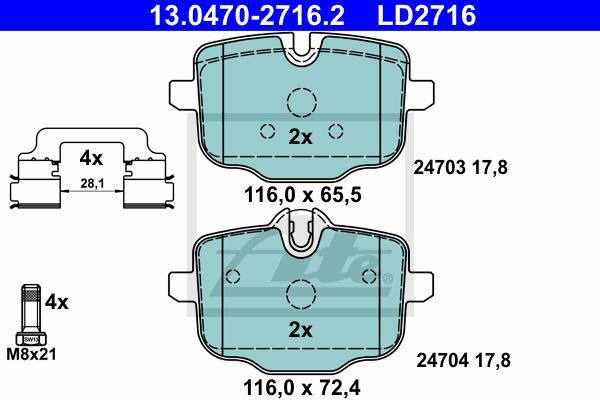 NEW For BMW F06 F10 550i 650i xDrive Front /& Rear Disc Brake Pad Set Ate Ceramic